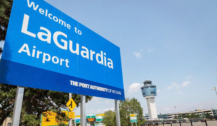 laguardia airport welcome sign