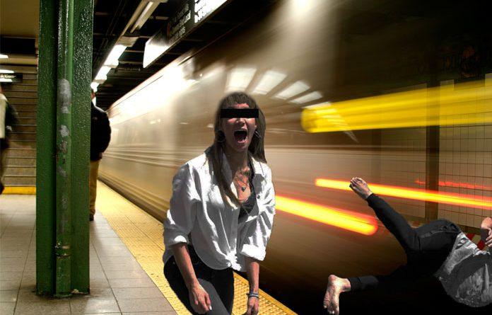 woman subway pushing